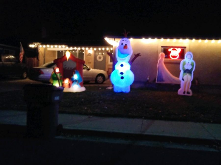 This house is off of East Avenue by Tesla and has an amazing display of inflatables as well as Buddy from Elf!