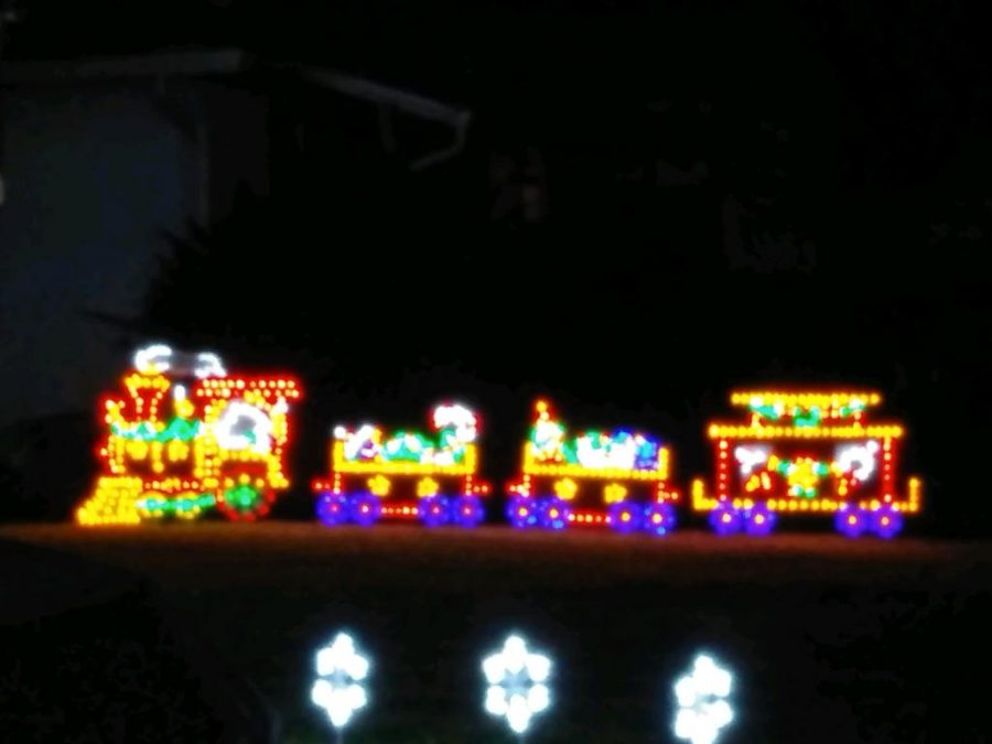 Although the house may not be fully decked out in lights this train is too cute to pass up. It is near Halifax off of De Leon street