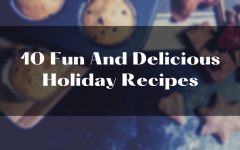 10 Fun And Delicious Holiday Recipes above a picture of muffins and cookies