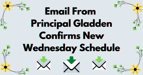 """Email From Principal Gladden Confirms New Wednesday Schedule"" above three cartoon emails and ringed with yellow flowers"