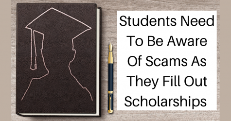 """Students Need To Be Aware Of Scams As They Fill Out Scholarships"" next to a notebook with the silhouette of a student wearing a graduation cap"