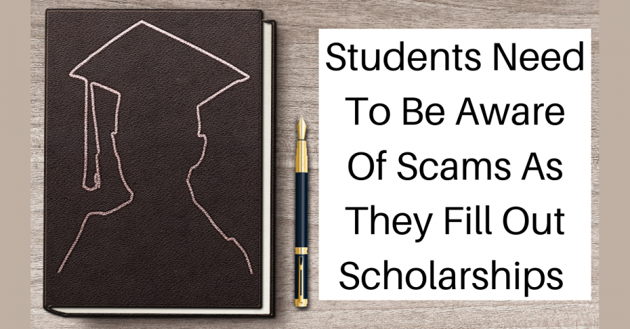 """""""Students Need To Be Aware Of Scams As They Fill Out Scholarships"""" next to a notebook with the silhouette of a student wearing a graduation cap"""